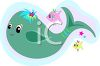 Cartoon of a Cute Whale and Fishes clipart