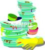 Lots of Dirty Dishes and a Pair of Dish Washing Gloves clipart