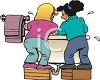 Two Girls Washing Up in a Sink clipart
