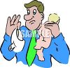 Dad Holding Up a Dirty Diaper clipart