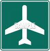 Green and White Road Sign-Airport Symbol clipart