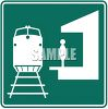 Green and White Road Sign-Train Station Symbol clipart