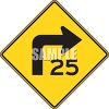 Road Sign-25 MPH Turn clipart