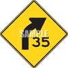 Road Sign-35 MPH Turn  clipart