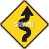Road Sign-Curvy Road Ahead Symbol clipart