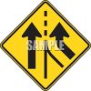 Road Sign-Road Merges  clipart