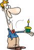 Cartoon of a Man Holding a Cupcake with a Candle in It clipart