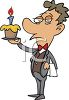 Cartoon of a Butler Holding a Birthday Cupcake clipart