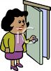 African American Businesswoman Opening an Office Door clipart