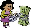 African American Businesswoman with Money clipart