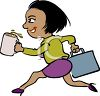 African American Businesswoman Hurrying to Work clipart