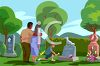 Boy and His Parents Visiting a Pet Cemetery clipart