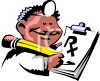 Cartoon of an African American American Doctor Writing a Prescription clipart