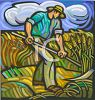 Farmer Harvesting Wheat with a Scythe clipart