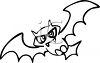 Black and White Vampire Bat clipart
