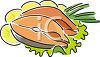 Salmon Steaks with Lemon Garnish clipart