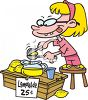 Cartoon of a Little Girl Selling Lemonade clipart