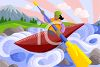 Woman In a Kayak on the River clipart