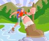 Guy Hiking Across a Stream in the Mountains clipart