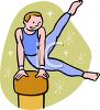 Young Male Gymnast on the Pommel Horse clipart
