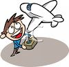 Cartoon of a Kid Playing with a Remote Control Airplane clipart