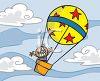 Boy in a Hot Air Balloon clipart