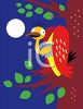 Vulture Sitting On a Tree Branch at Night clipart