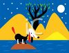 Puppy Stranded on an Island at Night clipart