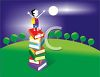 Boy Standing On a Stack of Books Under the Moon clipart