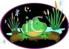 Frog Sitting on a Log at Night clipart