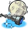 Big Moon and a Telescope clipart