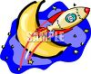 Spaceship Flying Across a Half Moon clipart