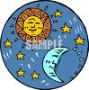 Sun and Moon with Stars clipart