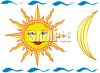 Sun with a Face and a Quarter Moon clipart