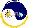 Ying Yang with Sun and Moon clipart