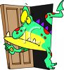 Monster Coming Out of a Closet clipart