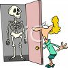 Woman with a Skeleton in Her Closet clipart