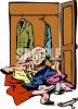 Child in a Messy Closet clipart