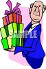 Butler Holding a Stack of Presents clipart