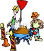 Construction Workers with a Wheelbarrow clipart