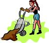 Woman Dumping Dirt From a Wheelbarrow clipart