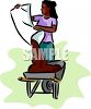 Black Woman Dumping Dirt Into a Wheelbarrow clipart
