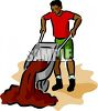 African American Man Dumping Dirt Out of a Wheelbarrow clipart