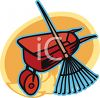 Wheelbarrow and Leaf Rake clipart