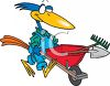 Crow Pushing a Wheelbarrow clipart