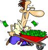 Man with a Wheelbarrow Full of Money Cartoon clipart