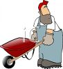 Farmer Pushing a Wheelbarrow clipart