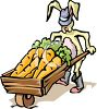 Rabbit with a Wooden Wheelbarrow Full of Carrots clipart
