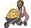 Miner with a Wheelbarrow Full of Gold clipart