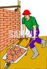 Bricklayer Pushing a Wheelbarrow Full of Bricks clipart
